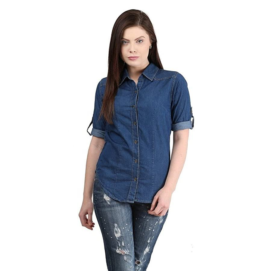 New Arrival Denim Jeans Shirts Women/Girls Long Sleeve Fancy Design Comfortable Smart Casual Wear Denim Shirts by Lazib Sports