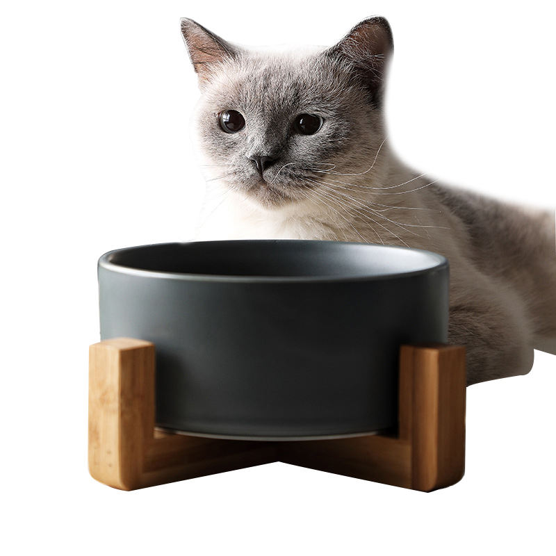 Manufacturer New Design Colorful Ceramic Pet Bowl for Dogs and Cats with Bamboo Shelf Eco-friendly Pet Bowl