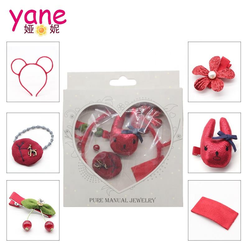 6Pcs/set fashion Girls Hairband Fabric hair Accessories Set For Baby