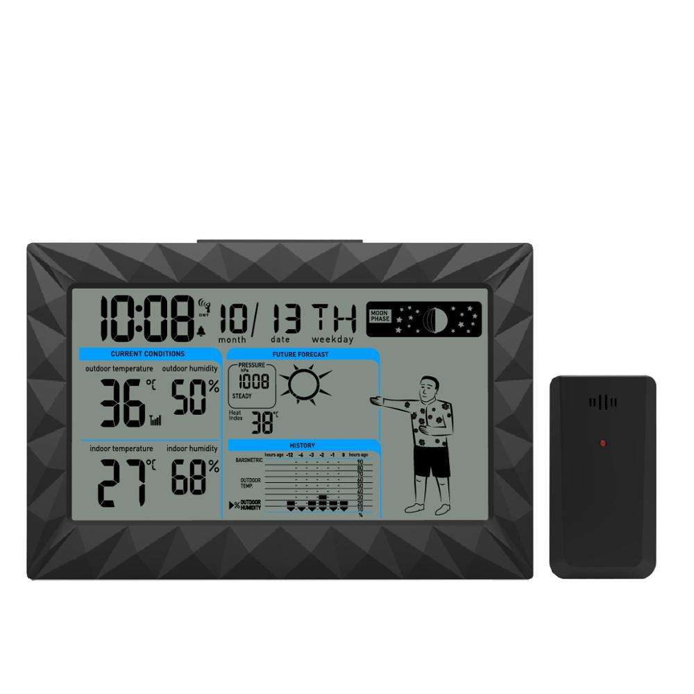 Wireless Stazione Meteo Digitale con <span class=keywords><strong>Indicatore</strong></span> <span class=keywords><strong>di</strong></span> <span class=keywords><strong>Umidità</strong></span> <span class=keywords><strong>di</strong></span> Temperatura <span class=keywords><strong>di</strong></span> Abbigliamento