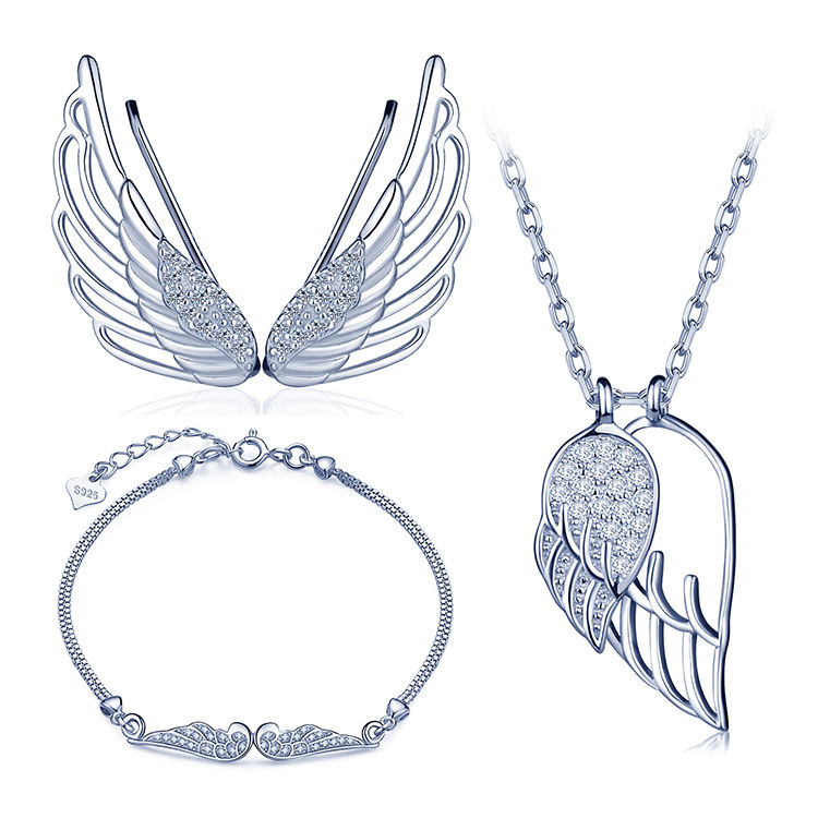 Angel Wings Ear Cuffs Bracelets Necklaces 925 Silver Jewelry Sets
