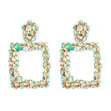 D1669 Fashion Bohemian Women Geometric Square Diamond Stud Earrings