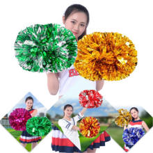 Metal Cheering Squad Spirited hand band Fun Cheerleading Kit stick handle Cheer Pom Poms tassel JV178