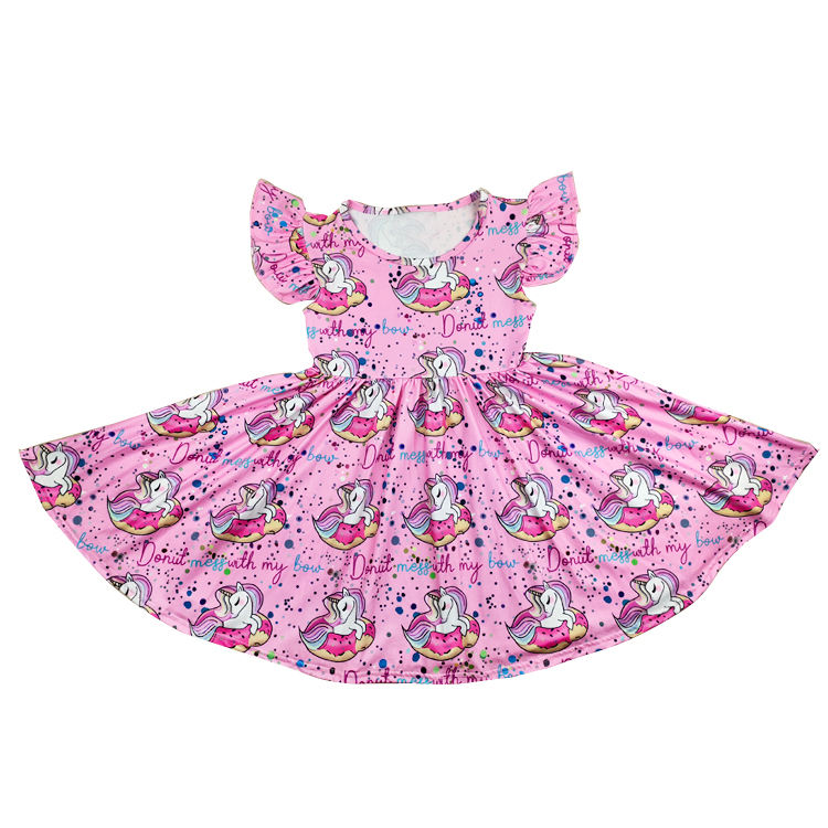 Wholesale girls party dresses boutique twirl dress milk silk dress frock design for baby girl