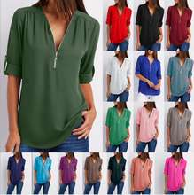 2019 Women Tops 17 Colors Plus Size V-Neck Long Sleeve Chiffon Elegant Design Women Blouse Lady Shirt Blouse For Women
