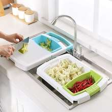 Multifunction Kitchen Chopping Block Sinks Drain Basket Cutting Board Meat Vegetable Fruit Antibacterial Cutting Board Gadgets