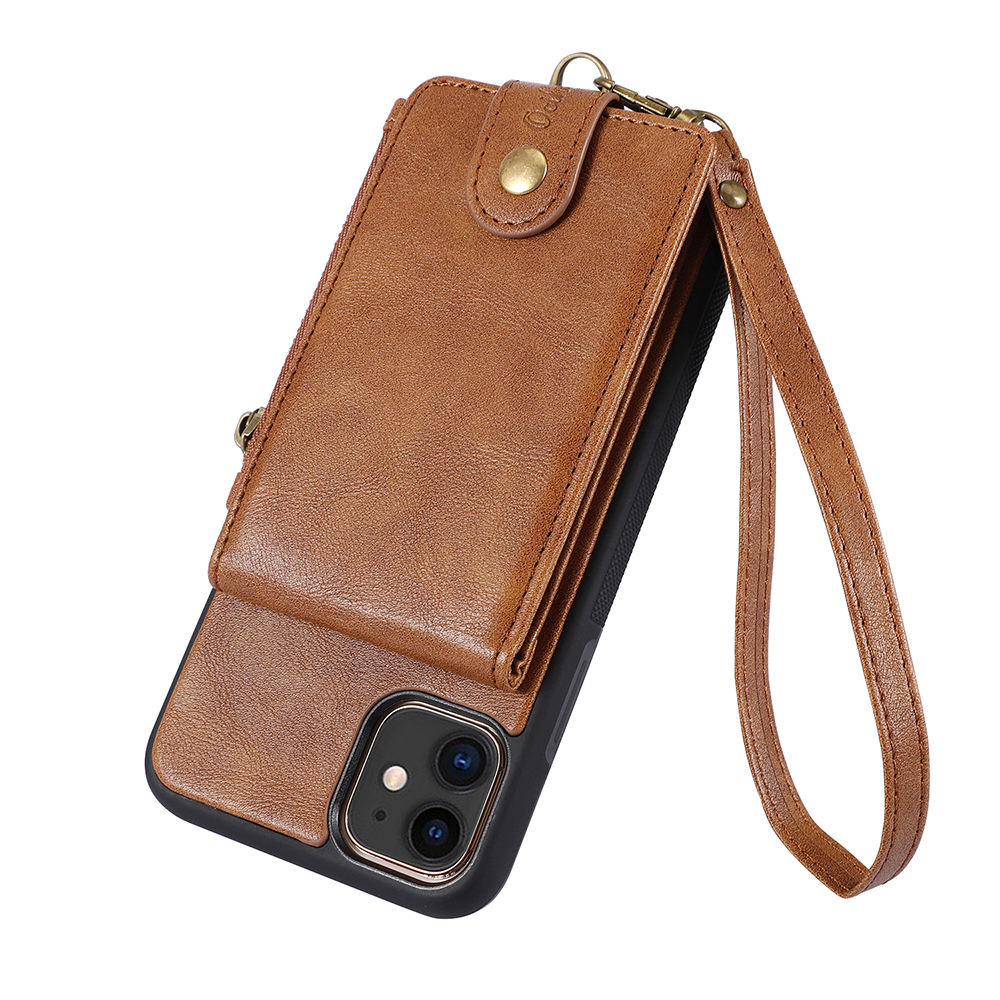 For iPhone 11 12 Pro Max X XS XR PU Cover Luxury Mobile Phone Bags Lanyard Boss Cell Fundas Men Leather Zipper Wallet Phone Case