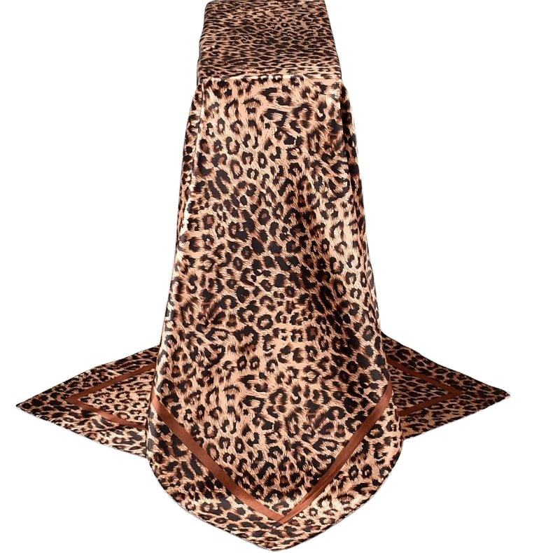 Autumn and winter fashion 2020 new classic leopard print little leopard dot satin 90*90 large square scarf