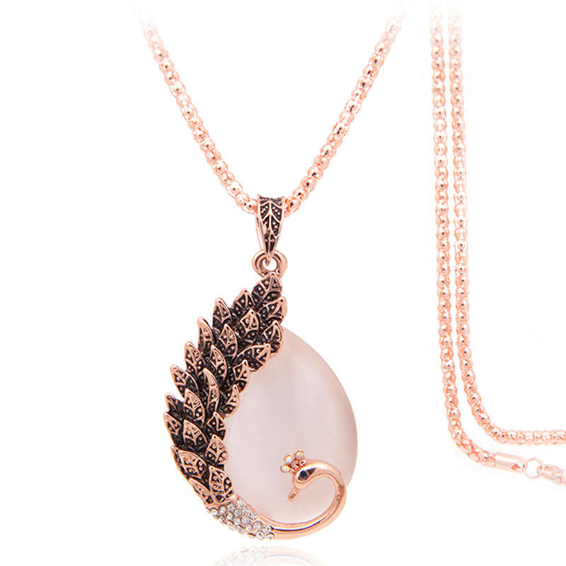 Ruigang European Vintage Rose Gold Plated Long Corn Chain Opal Peacock Feather Necklace