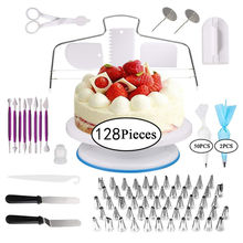 128Pcs Stainless Steel Russian Piping Tip Wilton And Accessory Reposteria Set Supply Turntable Baking Tool Cake Decorating