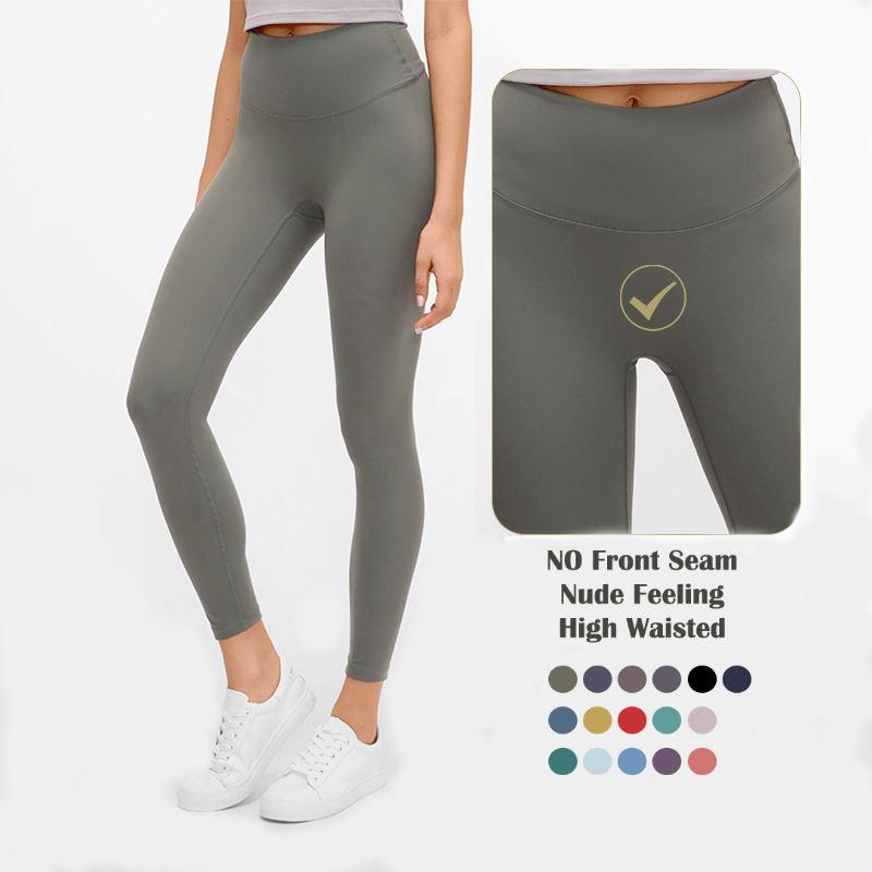 Custom LOGO Ankle Length No Camel Toe High Waisted Tummy Control Elastic Sports Pants Women Yoga Leggings