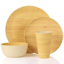 Bamboo Dinnerware  4 Piece Bamboo Tableware Set Anti-bacterial Eco Friendly Degradable Materials  Dishwasher Safe.