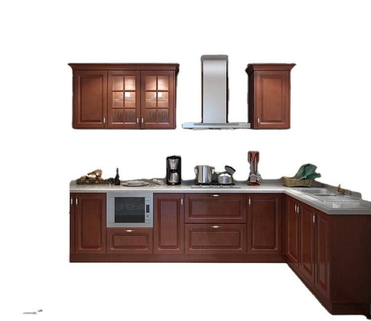 Free sample white wood classic style vintage recycled solid furniture European kitchen cabinets