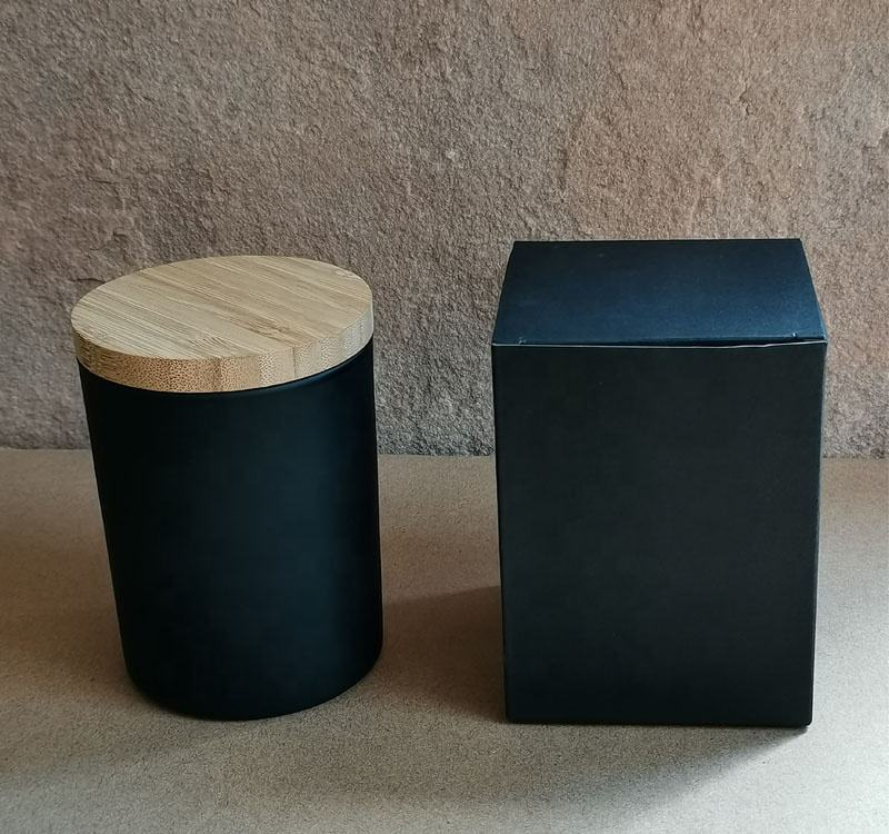 Matt Black Candle Jar with Bamboo Lid and Black Paper Packaging Box;Frosted Black Candle Glass Vessel