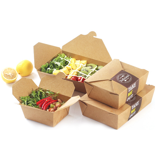 Disposable Custom Paper Salad Box with 2 windows 3 size Kraft Paper Salad Box Disposable Water Proof Takeaway box