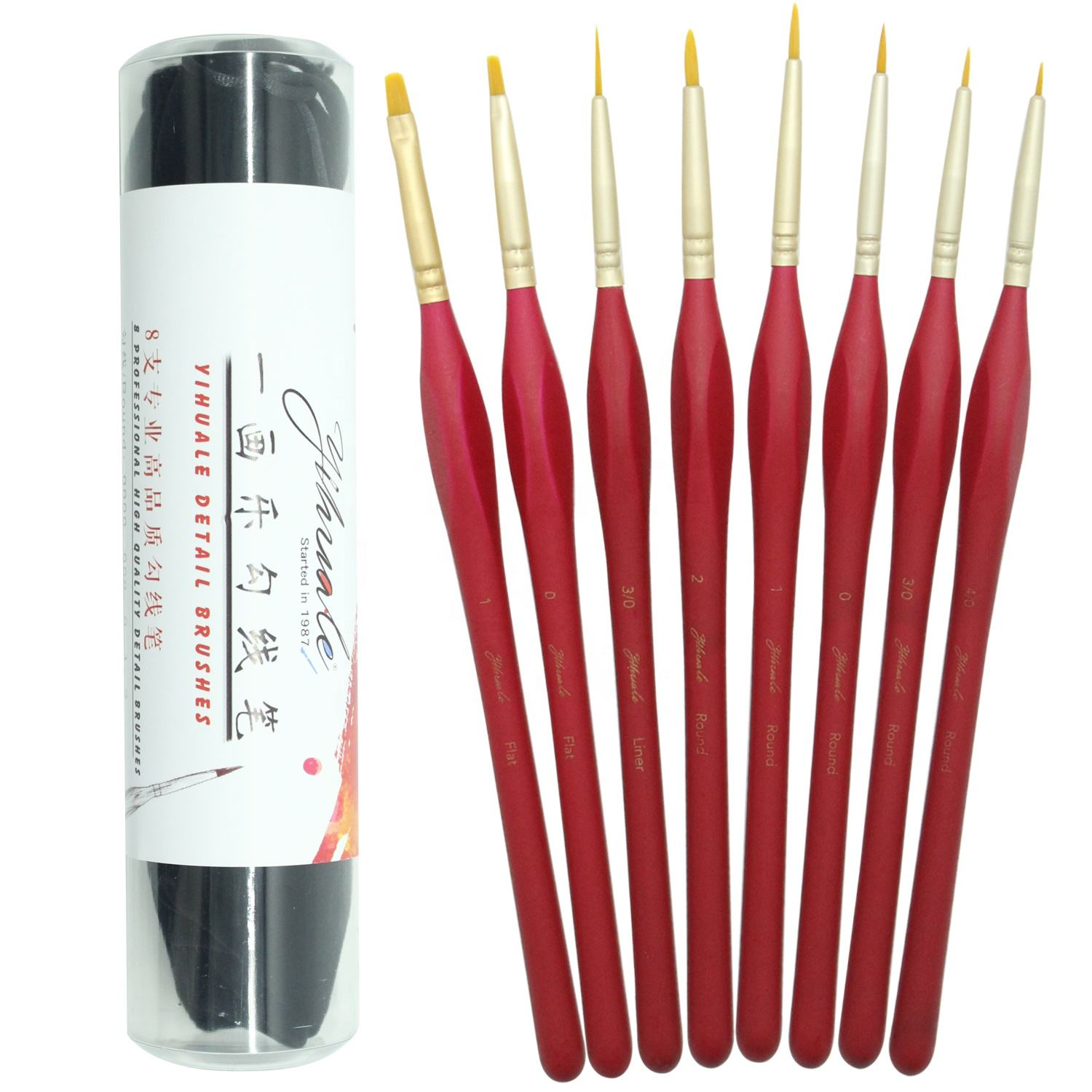 6pcs Black//Red Extra Fine Triangular Handle Detail Paint Brushes For Model Maker