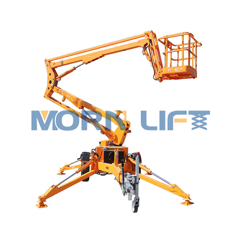 Hydraulic trailing towed telescopic boom lift