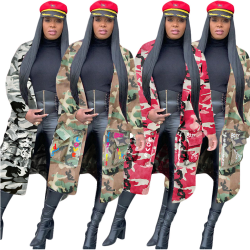 High Quality Ladies Long Camouflage Coat Outerwear Cardigan