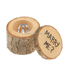 Personalized Original Ecology Marry Me Proposal Engagement Wedding Round Rustic Wood Jewelry Ring Bearer Box