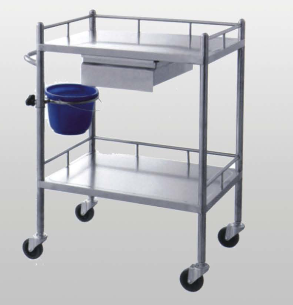 Hospital equipment metal stainless steel trolley with waste bin clinic medical moving trolley BC0918-16