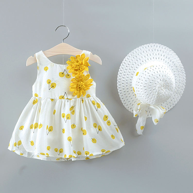 Summer cute cotton blend baby kids clothes girl toddler dress with straw hat