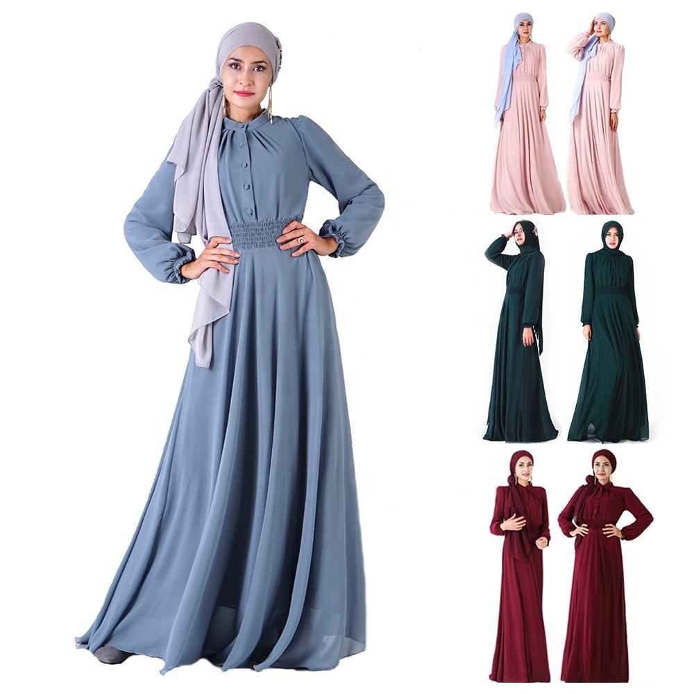 7002 - 2020 exclusive large swing skirt classic elastic waist chiffon Muslim women clothing dress