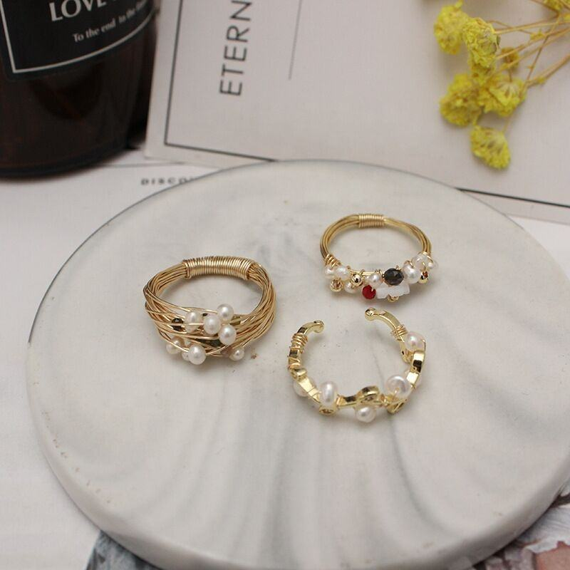 LS-A844 Wholesale gold filled wire wrapped ring natural pearl rings three styles select women stylish charm jewelry
