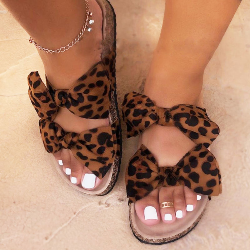 BY003 flat sexy leopard print bohemian slippers for women