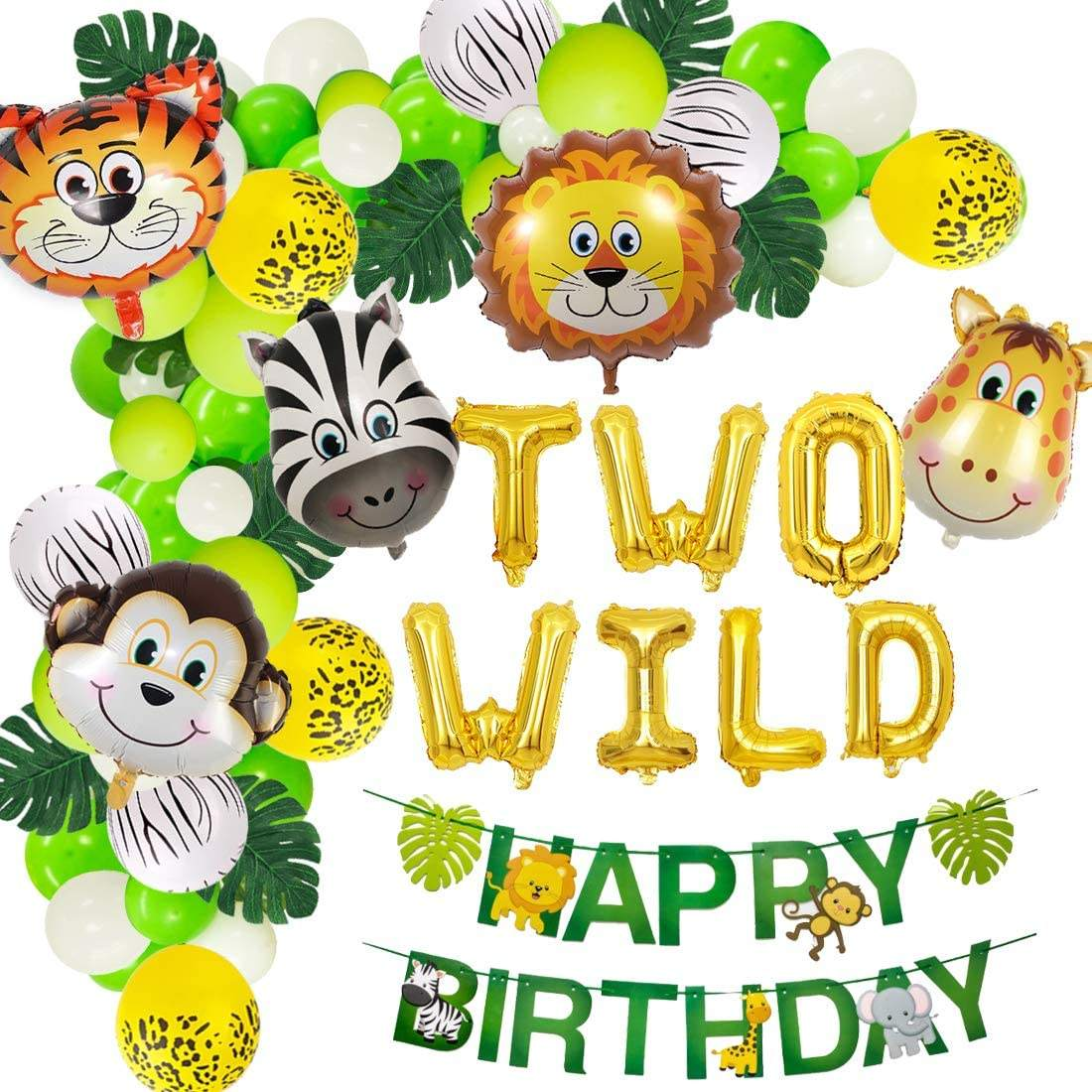 Jungle Theme 2nd Birthday Party Supplies Safari Balloons Garland Arch Kit Decorations