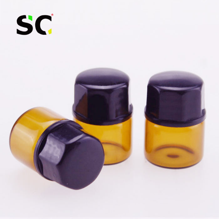 high quality 1ml 2ml 3ml 5ml small perfume glass sample bottle 1/4 dram 5/8 Dram 1 ml 2ml Amber Glass Vial for essential oil