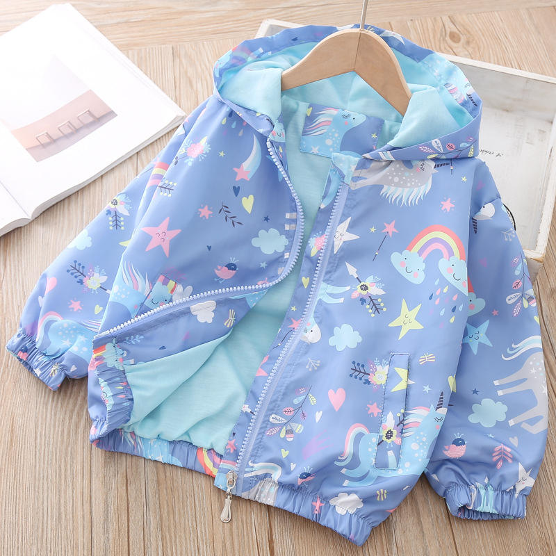 Spring Kids Clothes Windbreaker Trench Coat For Children Hooded Rainbow Unicorn Outerwear Long Sleeve Coat For Girls 2 to 8 Year