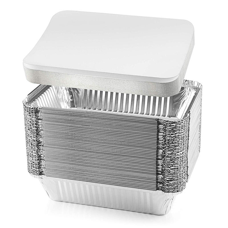 10pack 20pack 25pack 50pack Disposable Rectangle Round Aluminum Foil Food Containers Trays with lids Food-Grade