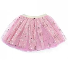 Wholesale soft tulle sparkle glitter stars children girls tutu skirt