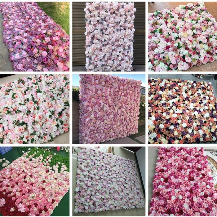 F-1648 Wholesale Wedding 40*60 CM Backdrop Pink Rose Panels Ombre Flower Wall For Event Decoration