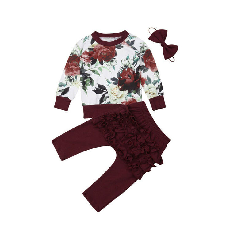 Newborn Infant Toddler Girl Organic Cotton Knitted Red Flower Long Sleeve Hoodie Long Pants 3PCS Set Baby Clothing