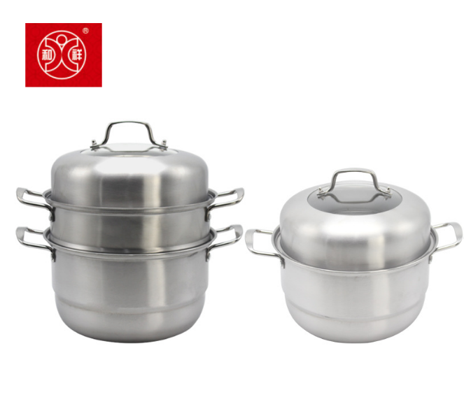 Hexiang double or three layer stainless steel steam pot set with strainer and cover dumpling cooking seafood food steamer