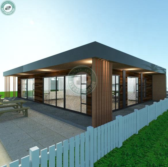 Prefab Container Homes 2 Bedroom House with Large Living Room Eco Home with Pool and Car Garage