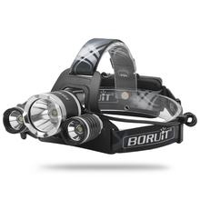 Boruit 5000 Lumen Brightest USB Headlight, Most Powerful Rechargeable Headlamp 3 T6 LED