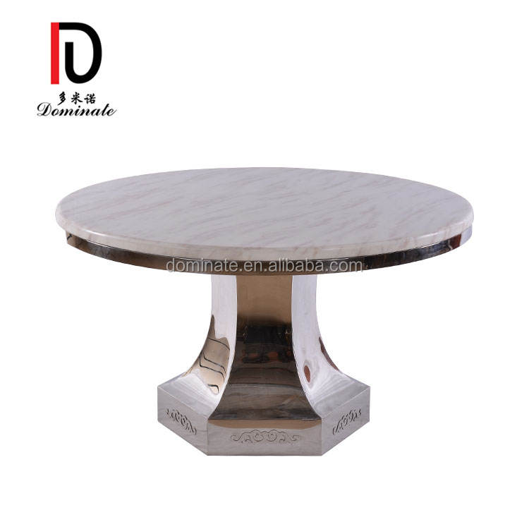 Wholesale modern wedding marble stainless steel round dining table