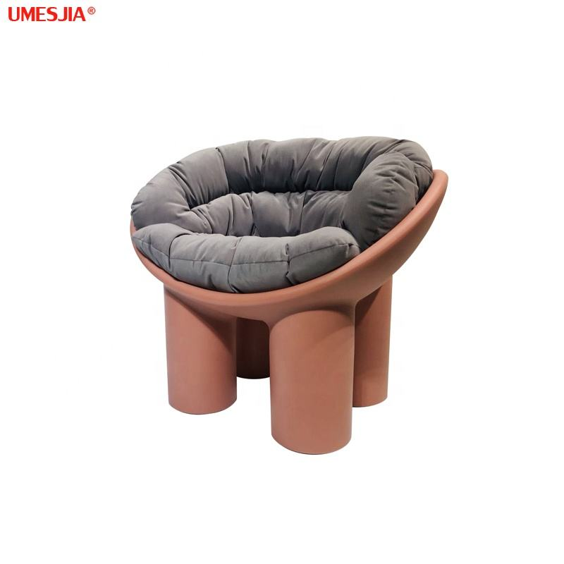 Modern living room fiberglass armchair Italian style lounge roly poly armchair covered with fabric cushion siad table sets