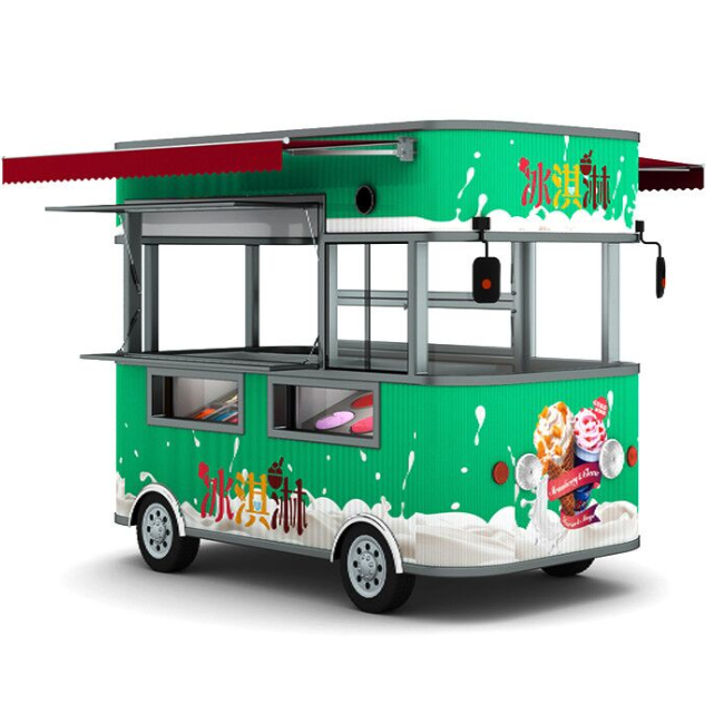 6pcs Battery 4.2m Mobile Snack Bakery Fast Food Truck Trailer Customized Electric Food Cart