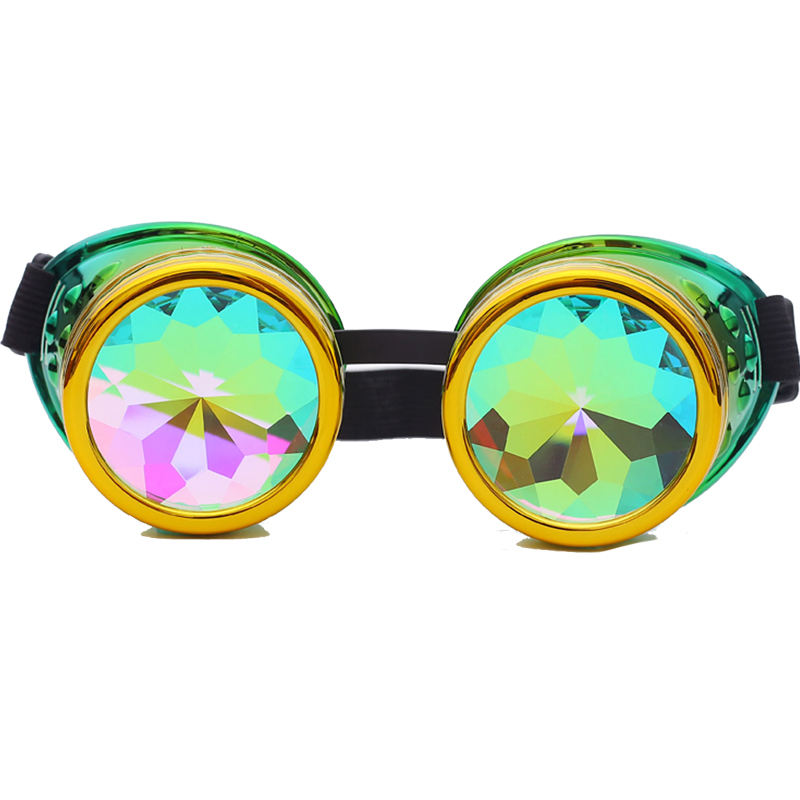 Clear Best-Bag Funny Kaleidoscope Glasses Multicolor Rainbow Prism Sunglasses Round Crystal Lenses Goggles Fancy Fractal Prism Eyewear