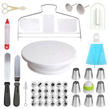 Wholesale Cake Decorating accessories Supplies Kits baking tools 58 Pieces Plastic Rotating for Cake stand turntable set