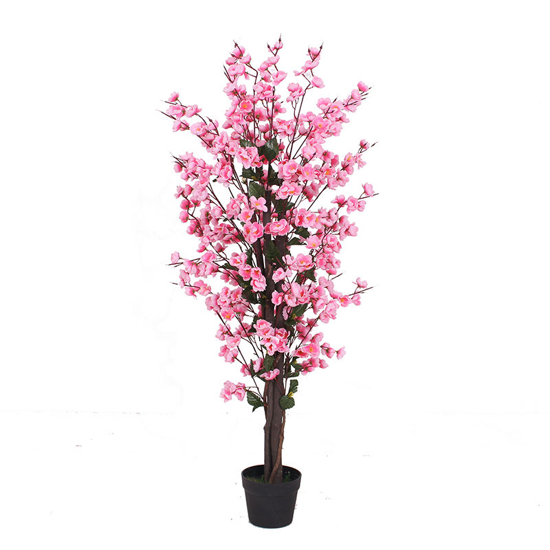 Wholesale artificial peach blossom flower tree for home decoration,High quality indoor artificial cherry blossom tree