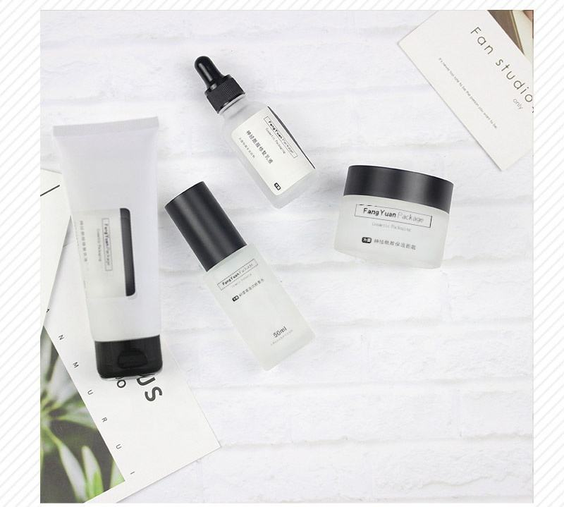 Frosted glass cosmetic package set 30g 50g cream jar 100g plastic cleanser soft tube with best quality