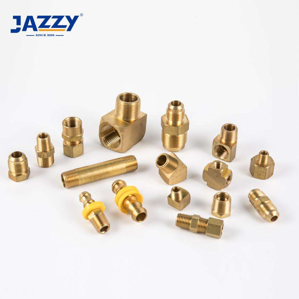 JAZZY Forged compression Fitting SAE 45 Flare Nipple Hose Brab Push On DOT Water Plumbing Brake Pipe Brass Fittings