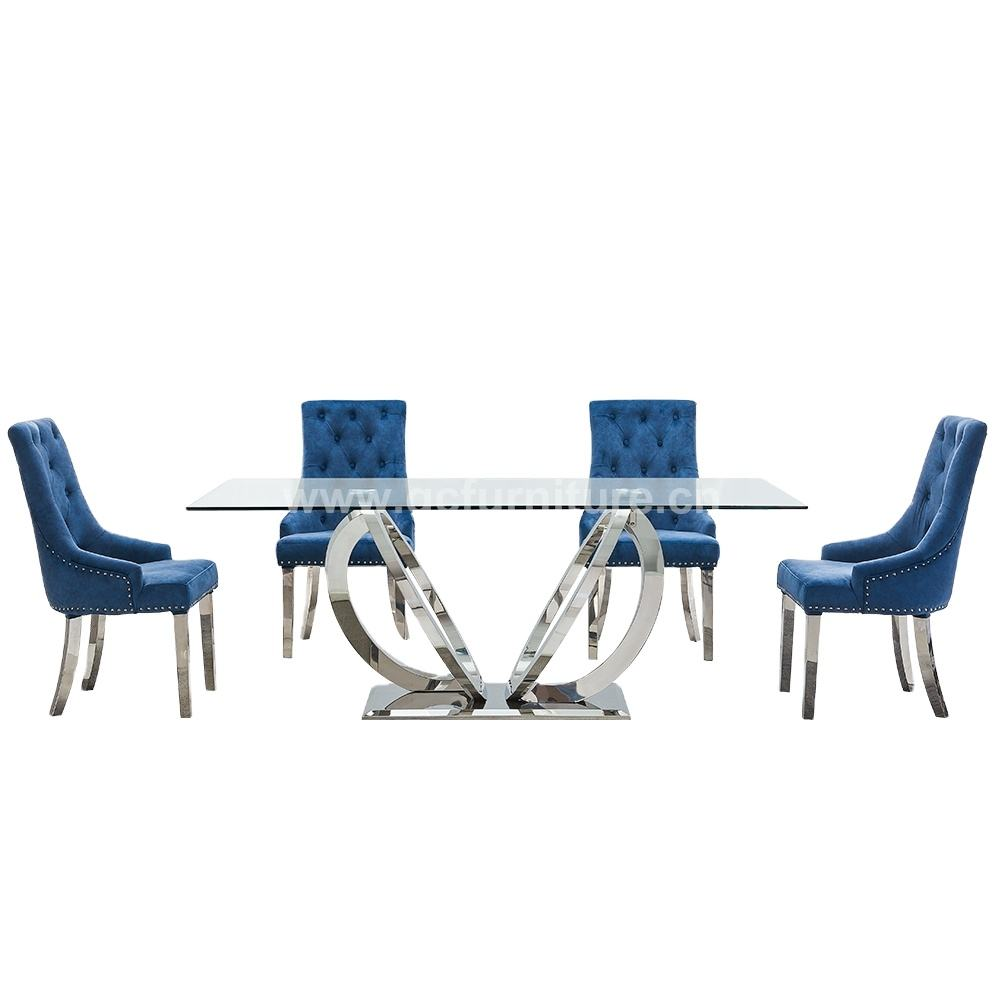 dining room furniture stainless steel designs tempered glass top dining table and 6 chairs set
