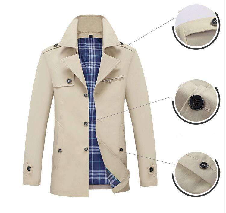 Coldker Casual Jacket Men's Long Jacket Men's Business Suit Collar