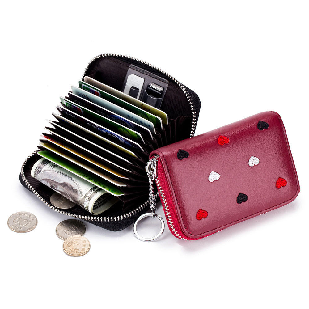 Mini Size SD Cards Slots Zipper Short Type RFID Blocking Genuine Leather Women Coins Purse Credit Cards Holder