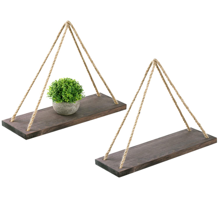 Retro durable rectangle rustic handmade floating pine hanging wood wall shelf